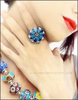 Glass ring - Blue flower by Faeriedivine