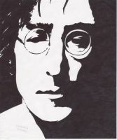 John Lennon in sharpie by garrett-btm