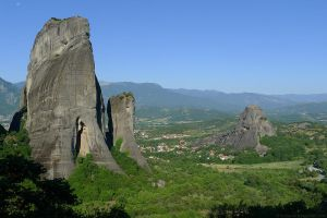 Meteora Rocks and Plain by bobswin