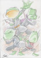WaterColor Commission 4 ninja frogs from ROLQWIR by dekarogue