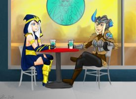 Ashe and Sejuani- Coffee Date by MESS-Anime-Artist