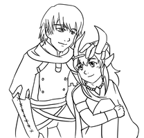 Stocke and Aht Lineart by Knight-Dawn