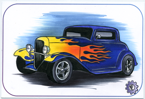 1932 FORD COUPE SKETCH CARD by chrisfurguson