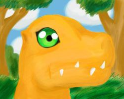 Agumon in a Forest by HightonviewArtist