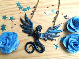 Galaxy Space Dragon necklace by RegnumLaternis