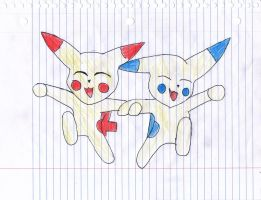 plusle and minun by thelongdreamer