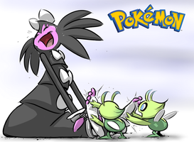 Gothitelle Tickled by Celebi by PawFeather