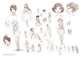 60s Cabaret Girl Sketches by Zae369