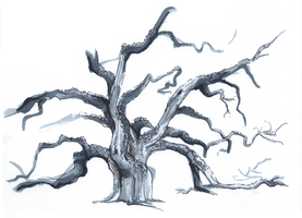Gnarly tree by Ilovetodraw