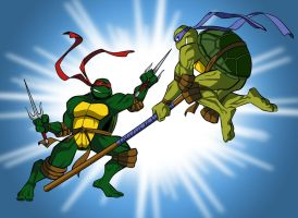 Turtles fight 2 by tanya-buka