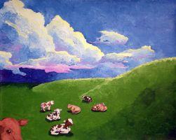 Cows lying down by CuppaStars