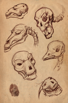 Skull Playsketches by CircuitDruid