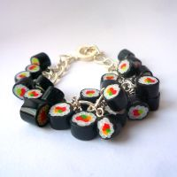 Sushi bracelet - silver chain by drrtymagic