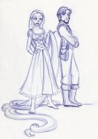 Rapunzel and Flynn the First by kuabci