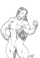 She Hulk Posing by UZOMISTUDIO