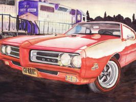 1969 Pontiac GTO Judge Sunset by FastLaneIllustration