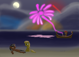 [COMMISSION] Bright Night at the Beach by BoxedSurprise