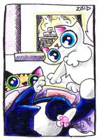 Serious cat says leave me alone ACEO by KingZoidLord