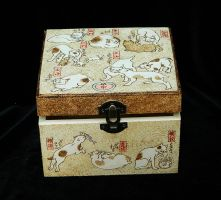 Cute Kuniyoshi Cats pyrography wooden jewelry box by YANKA-arts-n-crafts