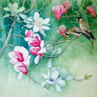 Flower and birds by ivywang1107