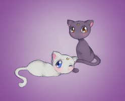 Moon Kitties by Saphriel