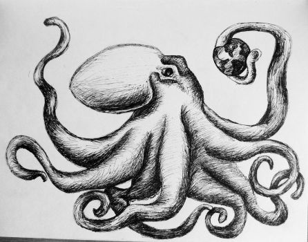 quick old sketch of an octopus and planets by KateHubar