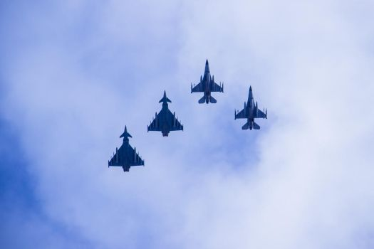 F16 and Eurofighter by Pertti