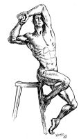 Male Figure Study in brush and ink by rawjawbone