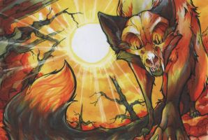 orange Shadow Scullfox by ChershireHatter