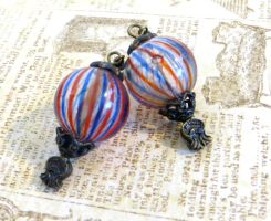 Blown Glass Hot Air Balloon Earrings by salvagedsword