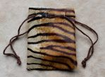 Tiger Print Cowhide Drawstring Pouch by lupagreenwolf