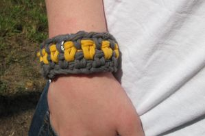 Grey and Yellow recycle t shirt bracelet by Adriellovesart