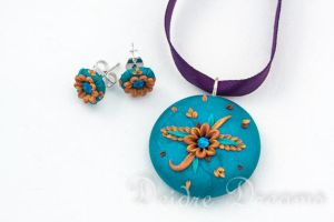 Indian Princess Earrings Pendant Set by DeidreDreams