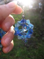 blue electra origami earrings2 by Suzuko42