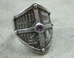 Circuit Board Shield Ring in Fine Silver by PartsbyNC