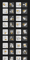 White icons Hi-Res +Golden by ahillesus