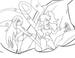 Rosalina and Cynthia: Summer Begins :Lineart: by Xero-J