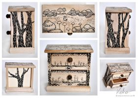 Mini commode with mushrooms by ElaRaczyk