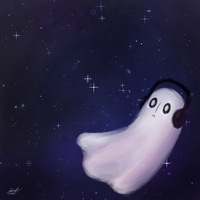 Here Comes Napstablook by PeachUnit