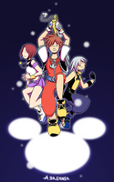 Kingdom Hearts Trio by HinoNeko