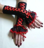 Corset gloves black red by Estylissimo