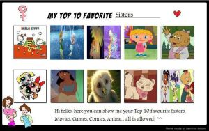 My Top 10 Animated Sisters by PrincessKatieForever