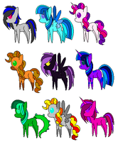 3 point pony adopts by Bella-Brownies