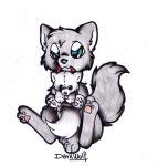 Puppy and plushie by TheDeftComa