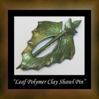 Polymer Clay Leaf Shawl Pin by KabiDesigns
