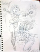 Ms Marvel/Spider-woman commish by CdubbArt