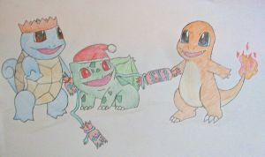 Gen 1 starters at Christmas by Niara-Wolf