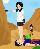 Videl tramples Son Gohan by Ihaccer
