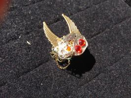 Faceless Watch Steampunk Winged Flower Ring by CrossTheHatter