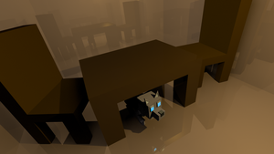 Low Poly: A Table, Chairs, and a Cat. by Heybye44PTX